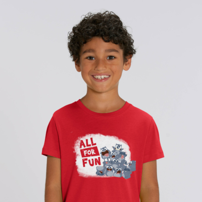 "T-shirt enfant rouge Lemming ""All for fun"" garcon"