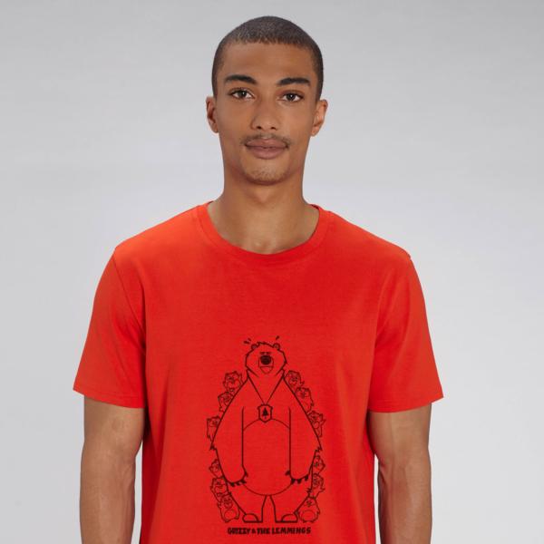 t-shirt rouge adulte cache cache filaire grizzy et les lemmings homme