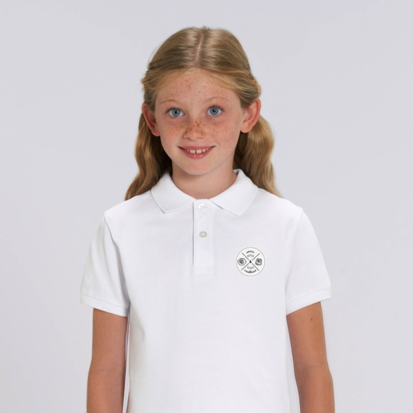 polo blanc enfant patch ecusson grizzy et les lemmings fille