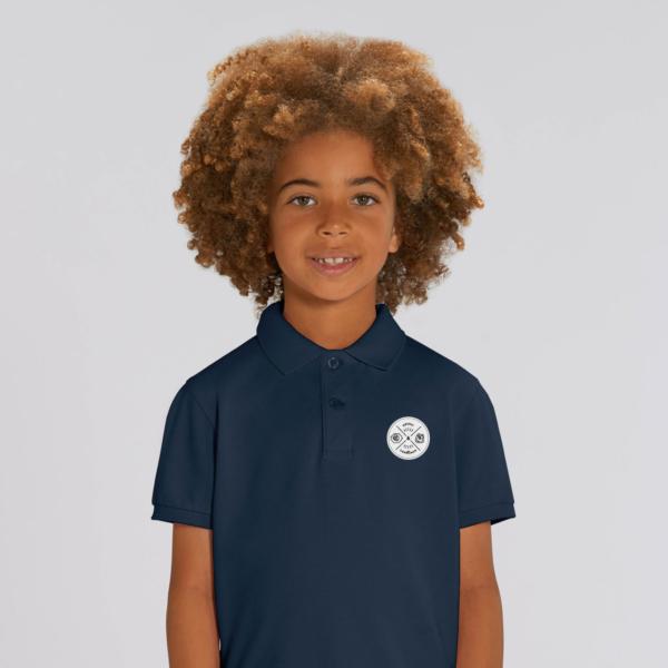 polo bleu navy enfant patch ecusson grizzy et les lemmings garçon