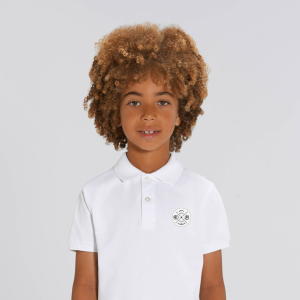 polo blanc enfant patch ecusson grizzy et les lemmings garçon