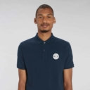 polo bleu navy adulte patch ecusson grizzy et les lemmings homme