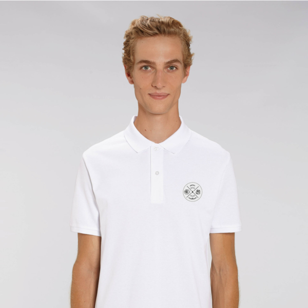polo blanc adulte patch ecusson grizzy et les lemmings homme