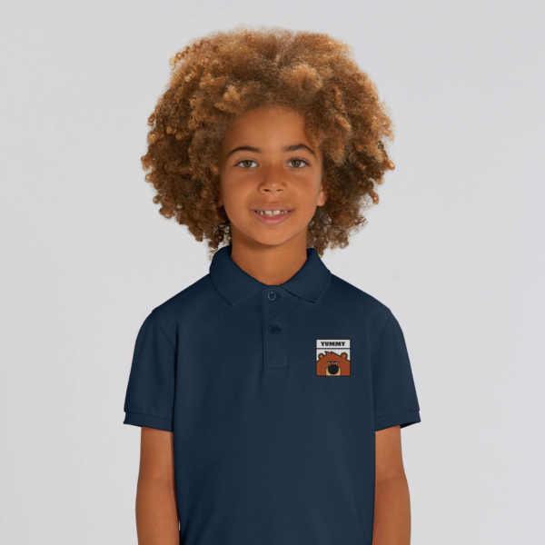 polo bleu navy enfant patch grizzy yummy grizzy et les lemmings garçon