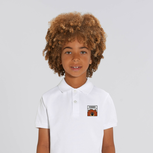 polo blanc enfant patch grizzy yummy grizzy et les lemmings garçon