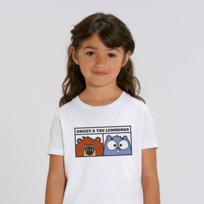 T-shirt enfant blanc portrait grizzy et les lemmings fille