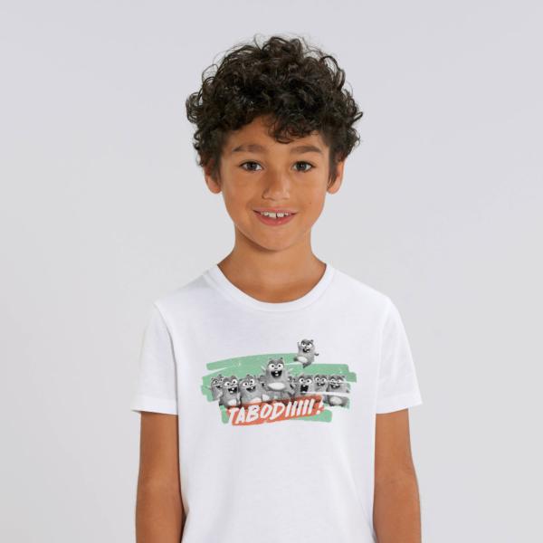 "T-shirt enfant blanc Lemming ""TABODIIIII"" garçon"